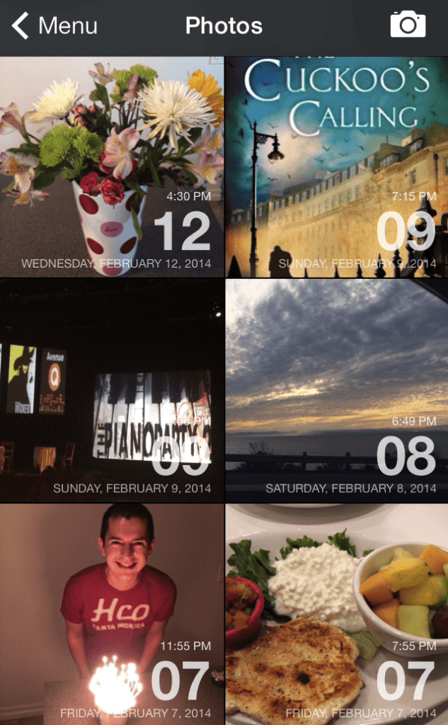 Screenshot of My Day One Photo Entries