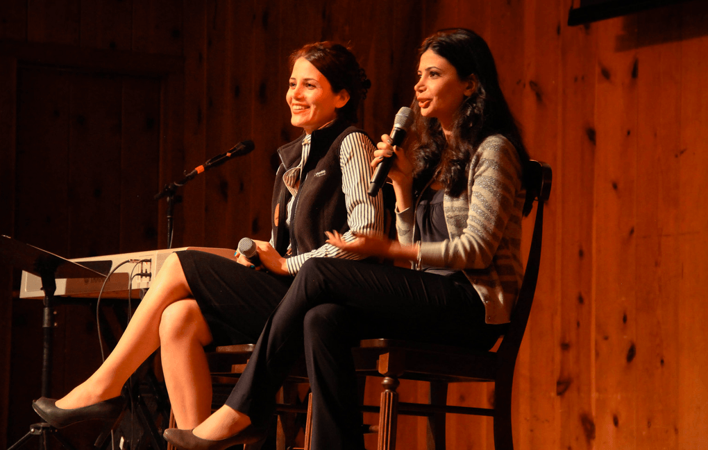 Marziyeh and Maryam speaking at our women's retreat at Forest Home camp.