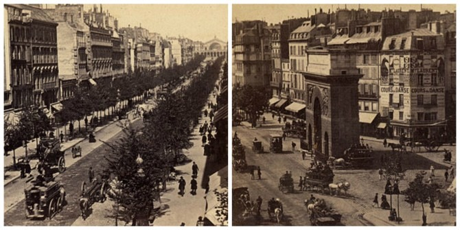Paris in the 1860s: Boulebard de Strasbourg and Porte Saint-Martin