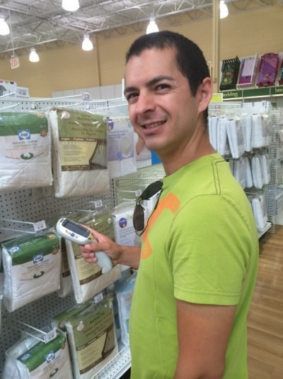 Luke was quite a pro with the registry gun at Babies R Us!