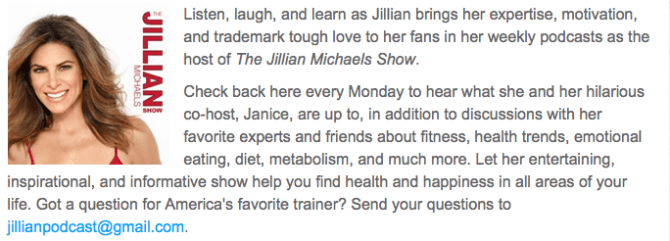 Jillian Michaels Podcast