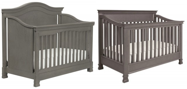 "The ""girly"" crib we'd planned on buying vs the ""masculine"" crib we ended up with. I LOVE the grey!"