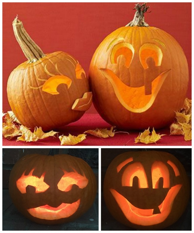 Our Pinterest Inspiration above; below, my frightening pumpkin (on the left) and Luke's awesome one (on the right).