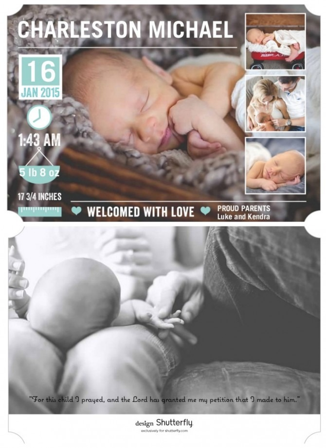 Charlie's Birth Announcements Collage
