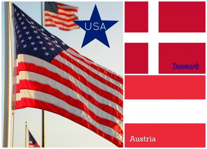 US, Denmark, and Austria Flags