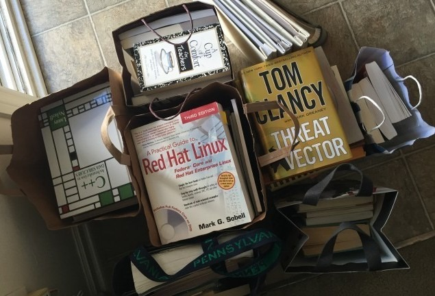 Inspired by Kondo, Luke and I significantly pared down our bookshelves and donated several bags of books..
