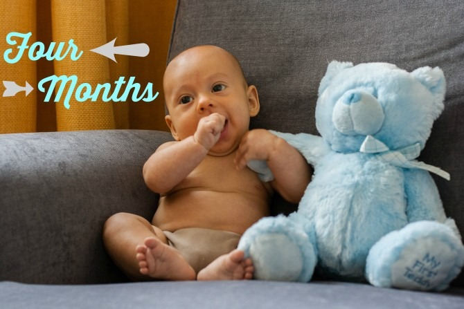Charlie and Blue Bear Four Months