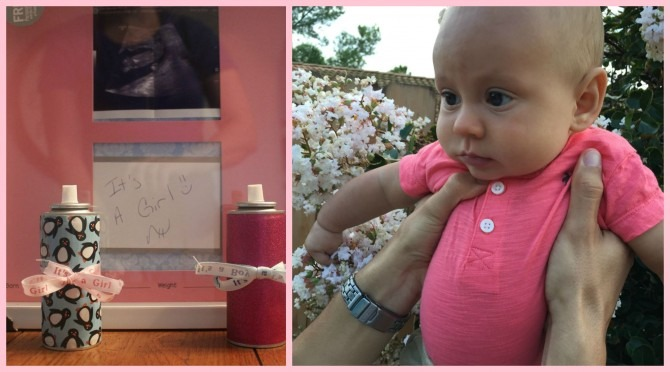 Charlie wore pink to match his gender prediction, and he was right: it's a girl!