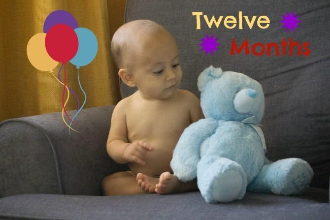 Charleston Michael and Blue Bear at Twelve Months