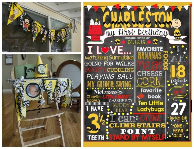 Peanuts First Birthday Banners