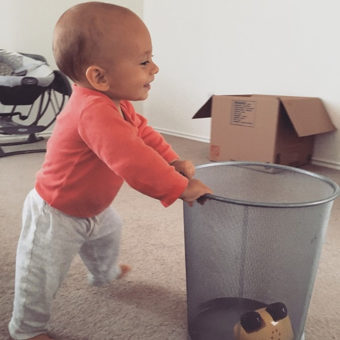 Charlie had zero problems living in an empty house; more room for pushing around his beloved trashcan!