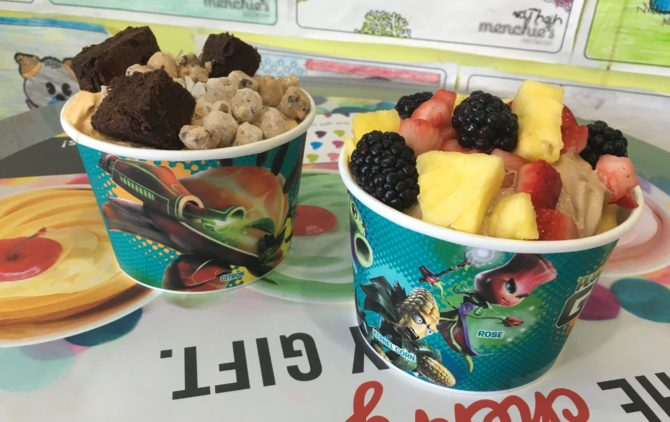 His and Hers frozen yogurt. I'll let you guess which one is mine.